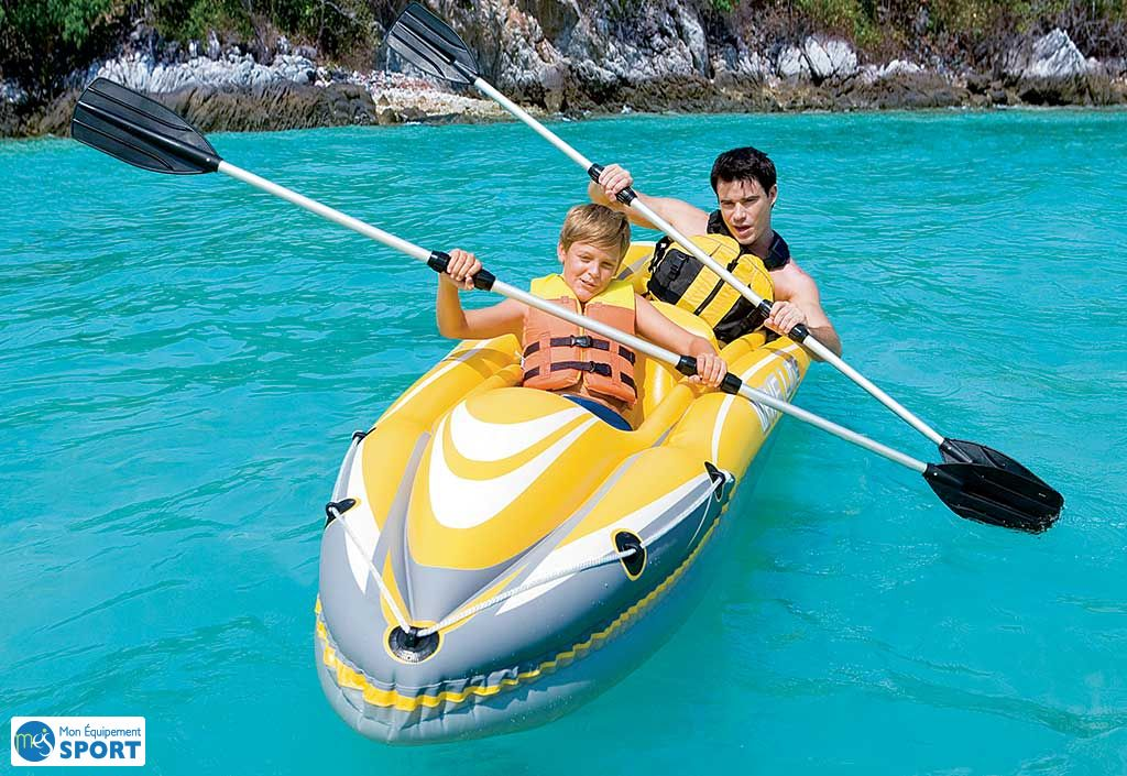 Kayak 2 Places Gonflable Wave Line 357x77x41cm + 2 Pagaies