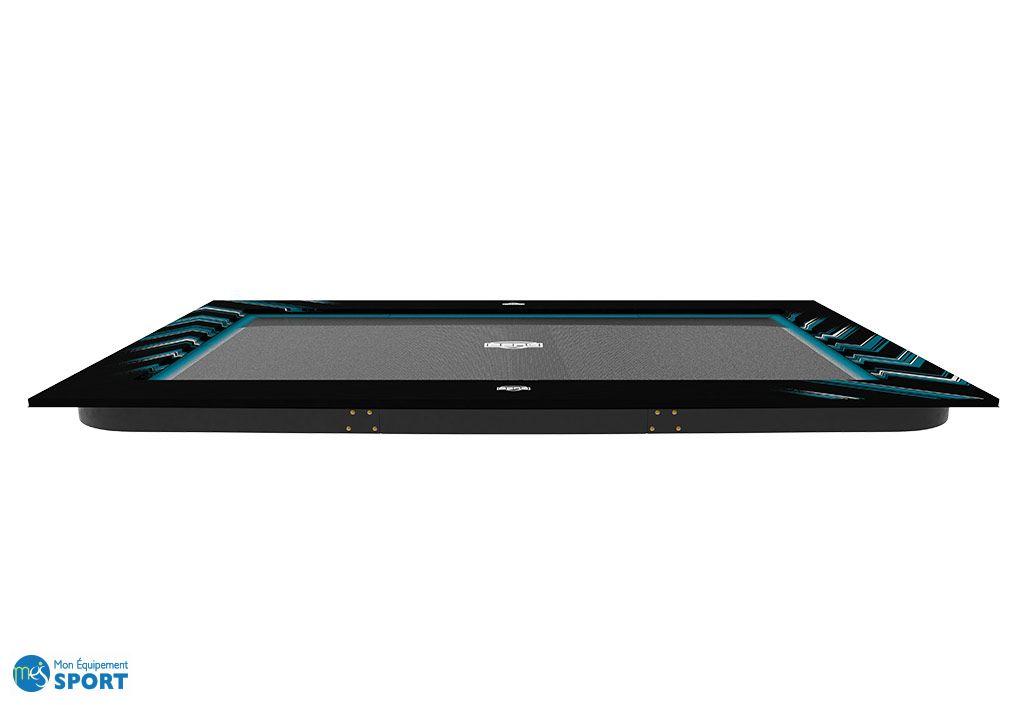 Trampoline Ultime Elite Flatgroung 5x3m noir et bleu