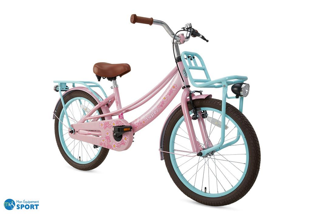 Vélo fille 20 pouces avec porte-babages Supersuper Lola rose