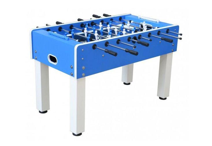 baby foot professionnel d'extérieur bleu en métal 141 x 74 x 88 cm