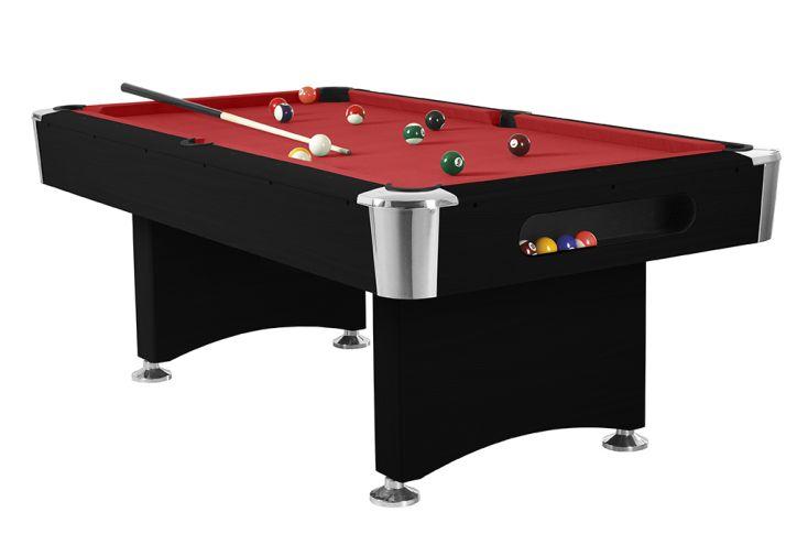 table de billard américain René Pierre en bois Boston rouge et noir