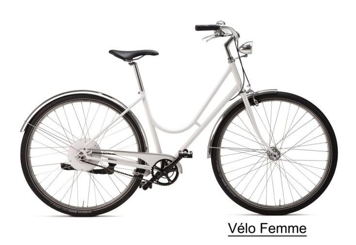 Vélo électrique avec smartwheel blanc pour femme