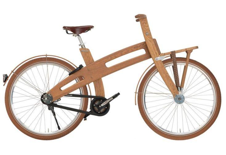 Vélo de ville Carrier en bois avec portes bagages avant