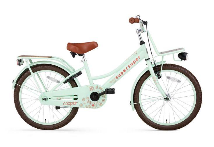 Vélo fille 20 pouces avec porte-bagages Supersuper Cooper Bamboo vert