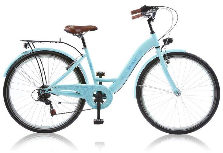 Vélo de fille 24 pouces amazone 6 vitesses bleu