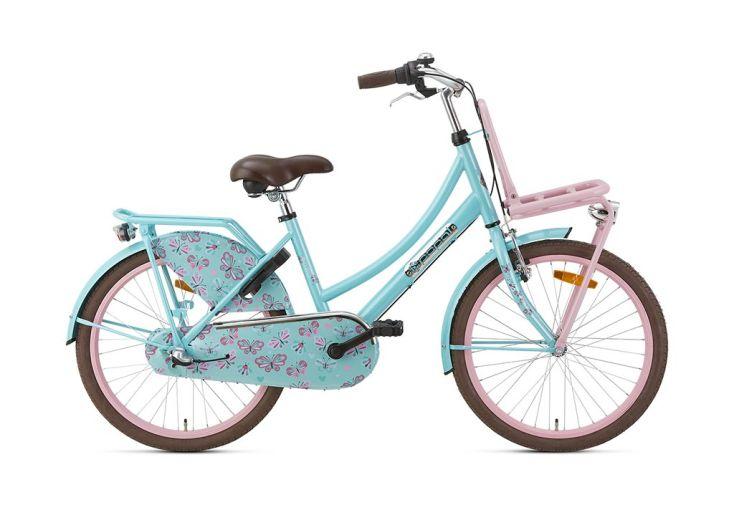 Vélo enfant bleu porte-bagage rose vélo 22 pouces Popal Daily Dutch Basic+