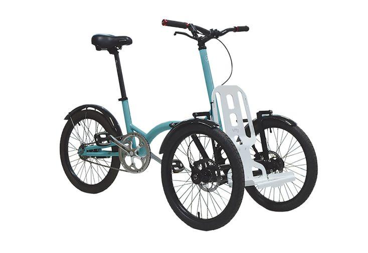 Vélo tricycle Kiffy bleu pastel et plaque blanche