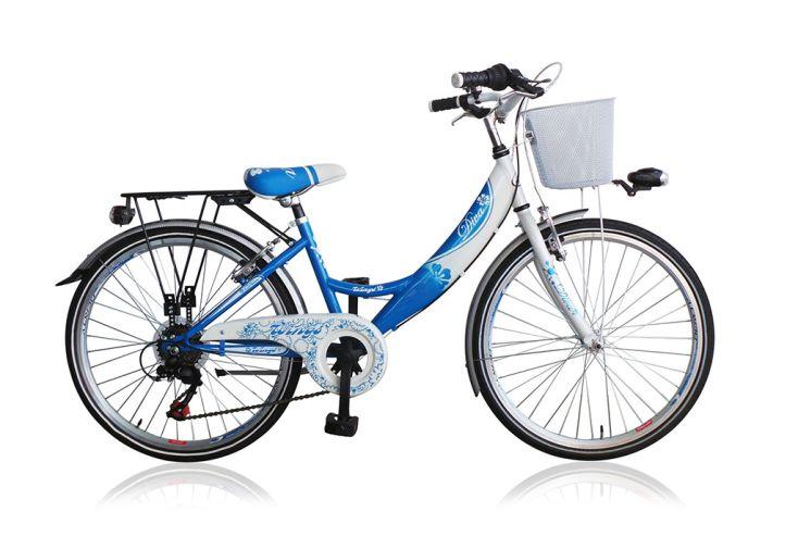 Vélo de Ville Diva 22 Pouces 6 Vitesses Shimano - Bleu