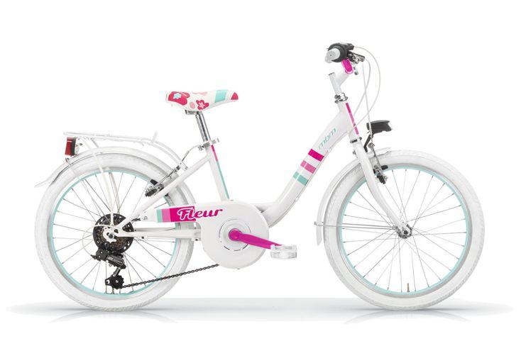 Vélo de ville Fleur 20 pouces 6 vitesses Shimano - Blanc