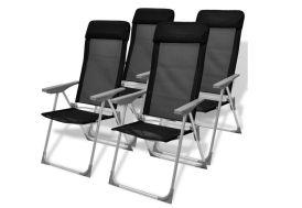 4 Chaises de Camping Pliables noires