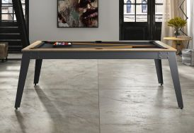 Billard Transformable en Table Steel Anthracite et Chêne Sablé