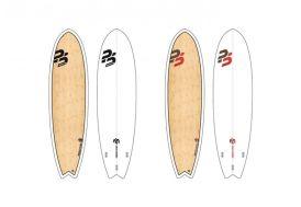 planche de surf perfect stuff modèle fish 6'4 en epoxy/bois