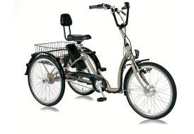 Vélo Tricycle électrique pour adultes beige 24 pouces comfort 7 vitesses